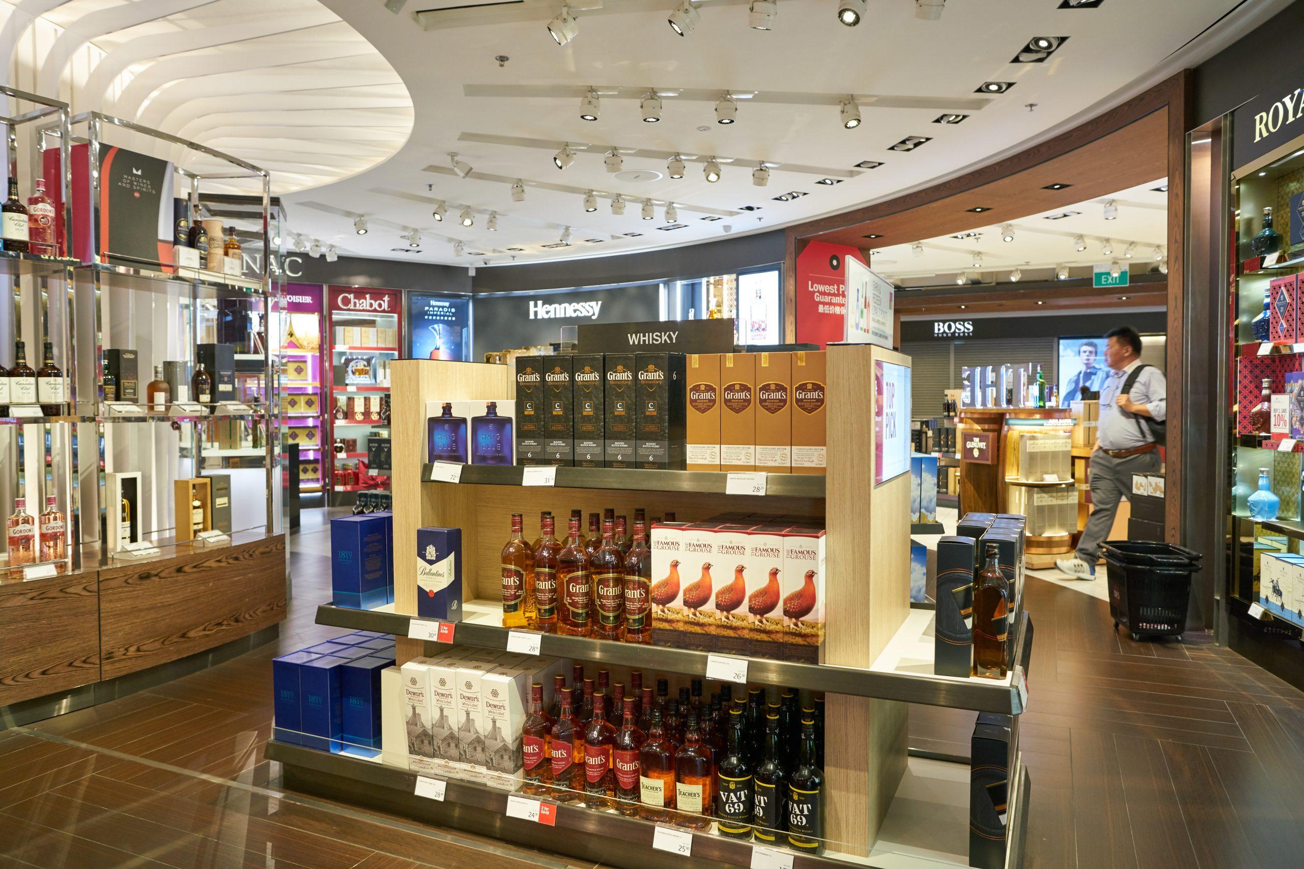 SINGAPORE – CIRCA APRIL, 2019: interior shot of DFS Wine & Spirits shop at Singapore Changi Airport.